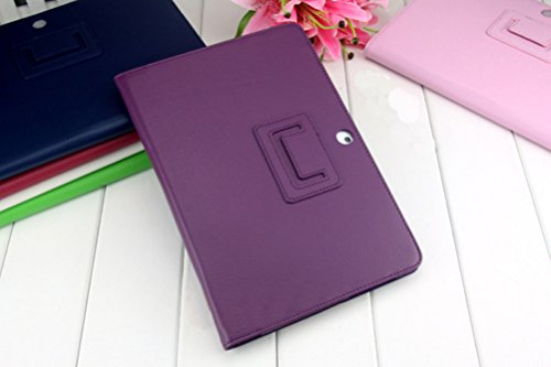Iusun Premium Leather Folding Resistant Case Shell Stand Cover For Samsung Galaxy Tab 2 10.1 P5100 P5110 P5113 (Purple) (Case 4s Tab Samsung)