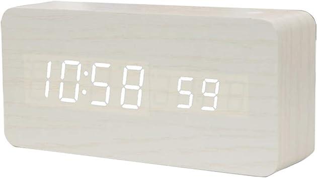 Hirkase Mini LED R/éveil num/érique en Bois Reveil Matin /Électronique Num/érique LED Horloge de Bureau Affichage de la temp/érature de lheure Aliment/é par USB ou Batterie(Bois Blanc lumi/ère Blanche)