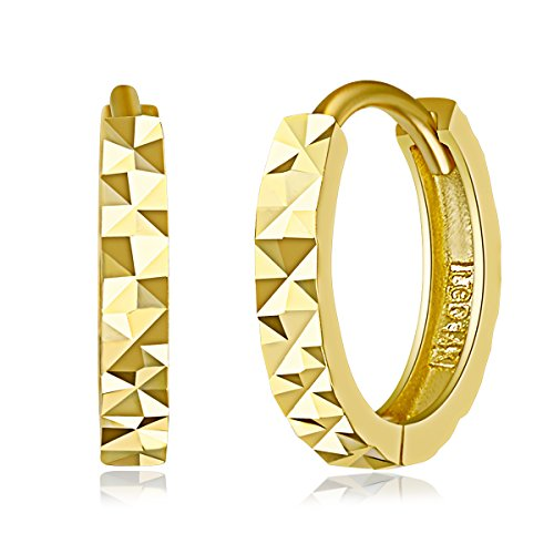 14k Yellow Gold 2mm Thickness Multifaceted Huggie Earrings (11 x 11 mm) ()