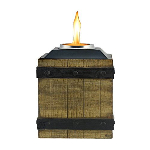 Tiki Brand 7-inch Clean Burn Fire Crate Resin Table Torch, Brown