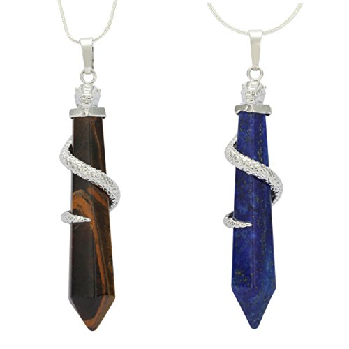Natural Tiger Eye & Lapis Lazuli Healing Crystal Reiki Chakra Cut 18-20 inch Gemstone Pendant Necklace (2pcs) Great Gift #GGP-D-S1