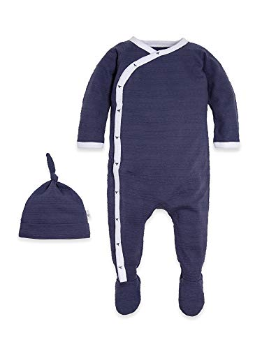 - Burt's Bees Baby Baby Boys Romper Jumpsuit, 100% Organic Cotton One-Piece Coverall, Indigo Hat Set, 6-9 Months