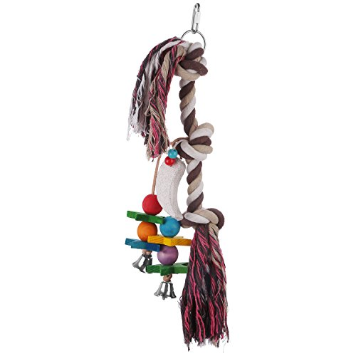 etrech Knots Block Chewing Parrot Toy, Climbing Hanging Toy for Birds (Purple)