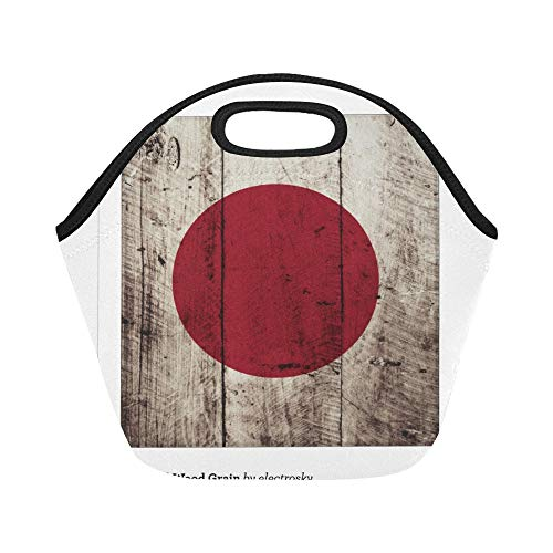 Insulated Neoprene Lunch Bag Japan Flag On Old Wood Grain Binders Rbefea Large Size Reusable Thermal Thick Lunch Tote Bags For Lunch Boxes For Outdoors,work, Office, School