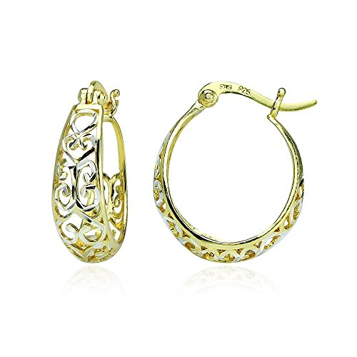 Sterling Silver Two-Tone Diamond-cut Filigree Swirl Small Hoop Earrings (Two Tone Small Girl)