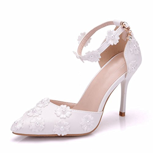 Satin Minishion Women's 4 US Bridal Weding Shoes Strap Flowers Buckle Ivory Ankle dY6waxn6