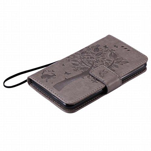 Custodia Sony Xperia E4 Cover Case, Ougger Alberi Gatto Printing Portafoglio PU Pelle Magnetico Stand Morbido Silicone Flip Bumper Protettivo Gomma Shell Borsa Custodie con Slot per Schede (Grigio)