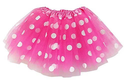 So Sydney Kids, Adult, or Plus Size POLKA DOT TUTU SKIRT Halloween Costume Dress (L (Adult Size), Hot Pink & White Mouse) (Polka Dot Tulle Skirt)