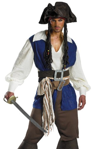 Mens Costume Disney's Pirate Jack Sparrow Deluxe Teen Adult Young (fits Size 38-40)