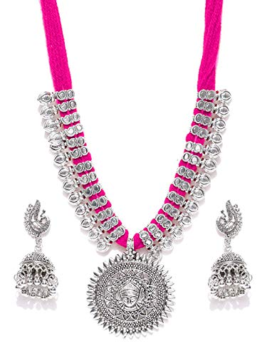 YouBella Jewellery Bollywood Ethnic Silver Plated Traditional Indian Necklace Set with Earrings for Women (Pink) (Indians Earrings)