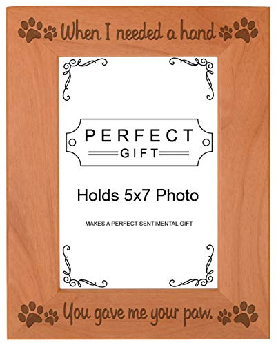 ThisWear Dog Picture Frame When I Needed a Hand You Gave Me Your Paw Wood Engraved 5x7 Portrait Picture Frame (Dog Picture Frame Vertical)