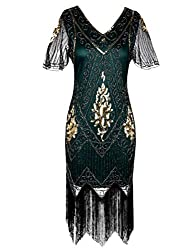 Gold Malachite Green 1920s Sequin Art Dress with Sleeve