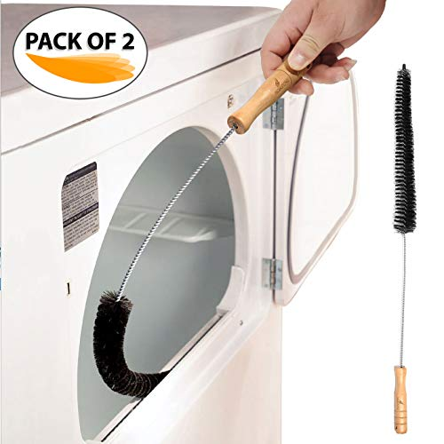Clothes Dryer Lint Vent Trap Cleaner Brush Gas Electric Fire Prevention Exhaust - Made of Stainless Steel (Pack of 2)