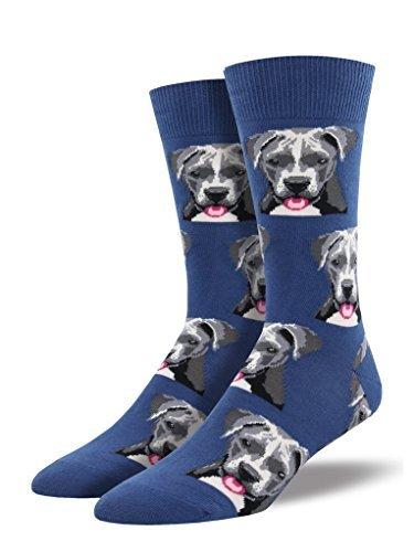 Blue Pit - Blue Pit Bull Dog Design Men's 10-13 Cotton Stretch Crew Socks