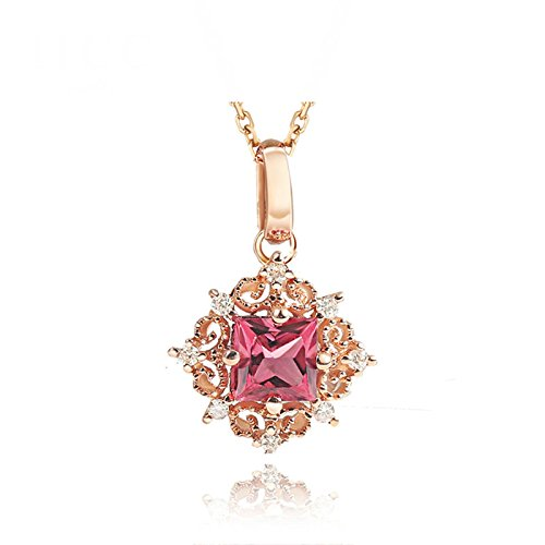 Daesar 18K Gold Necklace For Women Snowflake Necklace Gemstone Square Tourmaline Pink Chain Width: 1.2MM by Daesar