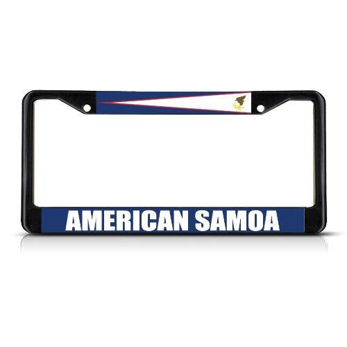 Fastasticdeals American Samoa Flag Black Heavy Duty Metal License Plate Frame Tag Border