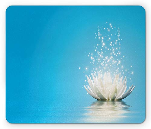 Lotus Mouse Pad, Mystic Lotus with Dreamlike Fairy Effects Peace Unusual Relaxing Zen Image, Standard Size Rectangle Non-Slip Rubber Mousepad, Petrol Blue Coconut