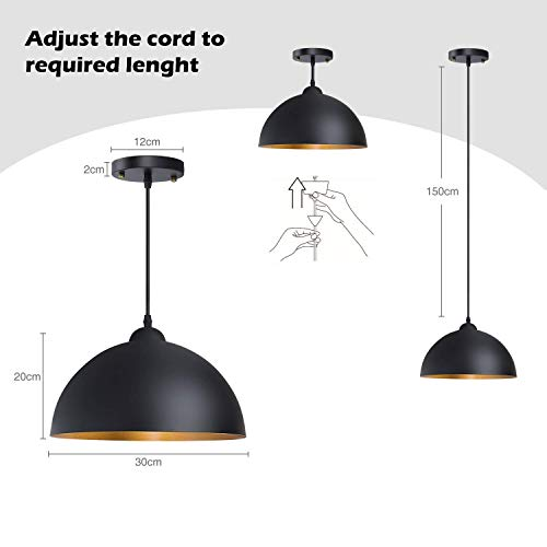 (ChuanHan Ceiling Fan Light Chandelier Lightings 2 Pack of Modern Contemporary Metal Gold Hemisphere Lamp Shade Ceiling Pendant Light for Restaurant Dining Room Coffee Shop Bars Pubs Café)