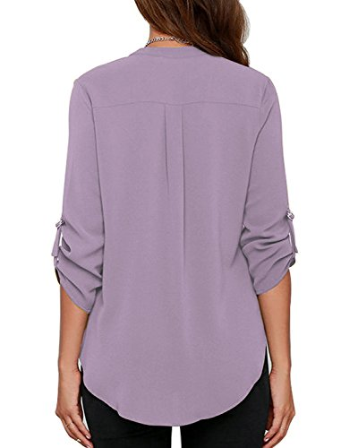 roswear Women's Casual V Neck Cuffed Sleeves Solid Chiffon Blouse Top Lavender S
