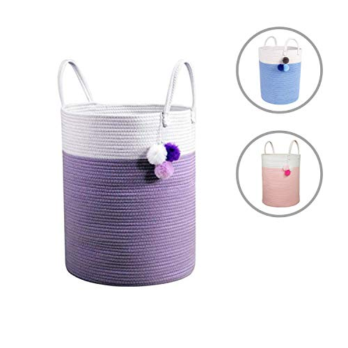 Solaya Tall Purple Cotton Rope Basket Storage 16
