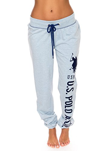 U.S. Polo Assn. Womens Printed French Terry Boyfriend Jogger Sweatpants Blue Yonder Heather 2X-Large Plus Size
