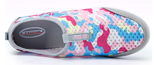 NEWZCERS women's girls fitness work out slip-on platform camouflage shoes Pink aMjGJ