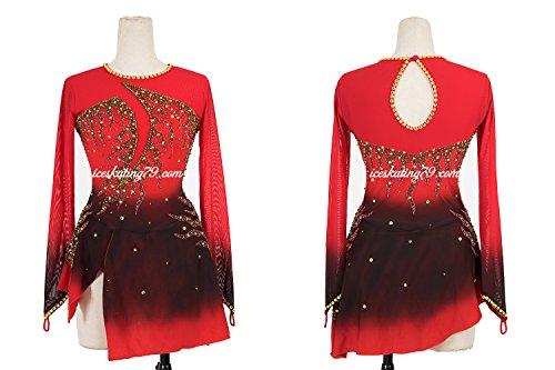 LIANA Ice Skating Dress/Girl Custom/Figure Skating Clothe/Twirling/Leotard/Baton Custom/Women/Red/Black Ombre/Gold Detail