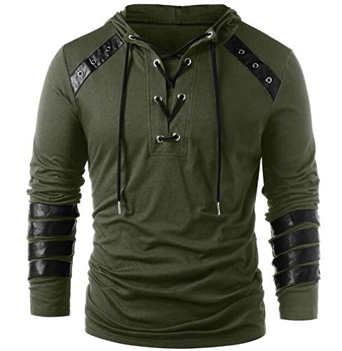 Faux Leather Lace Up Hoodie New Halloween Men Drawstring Hoodie Pullover Sweatshirt,Army Green,L -