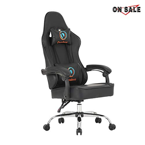 LCH Racing Style Computer Gaming Chair Racing Office Chair PU Leather Computer Desk Chair Adjustable Height Executive and Ergonomic Swivel Chair with Headrest and Lumbar Support (Black) (Best Gaming Chair 2019)