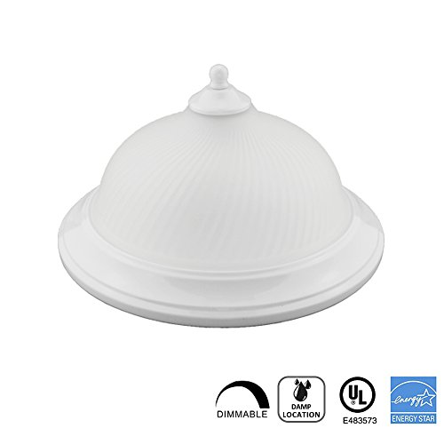 Worbest LED Flush Mount Dome Ceiling fixture, 11-Inch 15W(75W Equivalent), Dimmable, 3000K(Soft White Glow), 750lumens, Modern Glass White LED Flush Mount with Alabaster Glass UL and ENERGY STAR (Replacement Glass Mount)