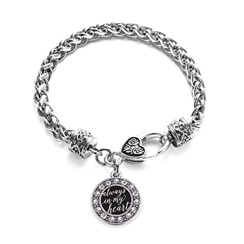 Inspired Silver - Always in My Heart Braided Bracelet for Women - Silver Circle Charm Bracelet with Cubic Zirconia Jewelry