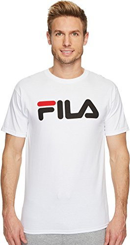 Fila Men's Printed T-Shirt, White, Black, Chinese Red, L