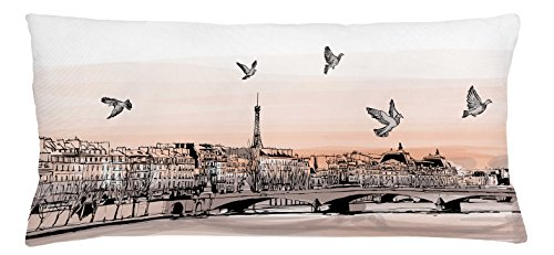 Ambesonne Landscape Throw Pillow Cushion Cover, Panorama Sketch Art Sunset View of Paris from Pont Des Arts with Pigeons River, Decorative Accent Pillow Case, 36 X 16 Inches, Peach Grey