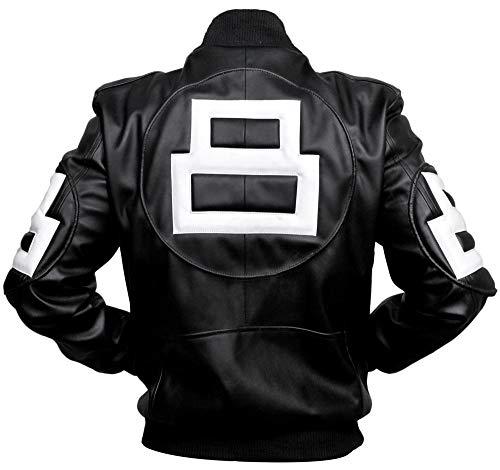 8 Ball Pool Seinfeld Michael Hoban Black Leather Bomber Jacket (Large (Best for Chest Size 44))