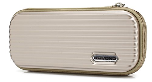 KYOND Hard Pencil Case PC Hard Shell case for Executive Fountain Pen,Ballpoint Pen,Stylus Touch Pen,Durable Students Stationery with Zipper (Gold Stationery Boxes)
