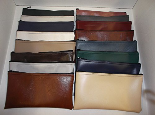 (4 Pack Assorted Solid Colored Vinyl Zippered Bank Bags)