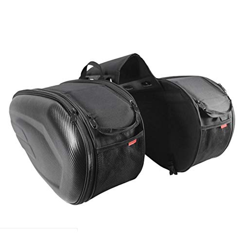 IMSHI Saddle Bags Expandable Throw Over Panniers Saddlebag Motorcycle Travel Luggage - Heavy-Duty Waterproof PU Oxford Cloth Carbon Fiber Case, Large Capacity Tail Package