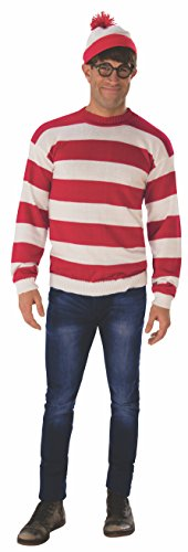 Rubie's Unisex-Adult's Standard Where's Waldo Deluxe Costume, as as Shown, Extra-Large ()