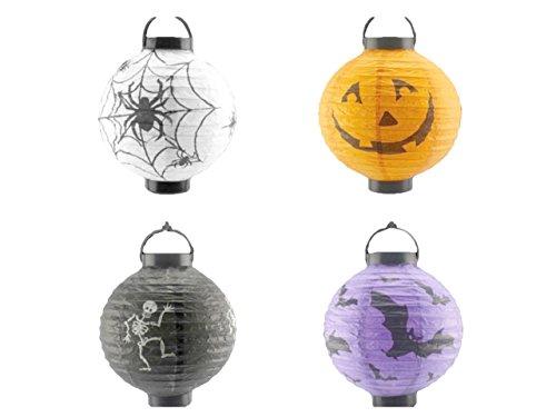 Halloween LED Hanging Fancy Lanterns [4 Pack]- LED Lanterns Ghosts,Pumpkin,Spider,Bat, Lanterns Party Supply