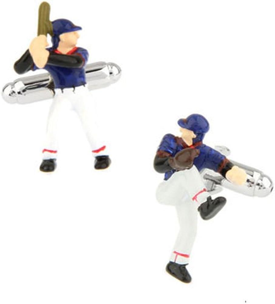 3D Bseball Player Cufflinks Home Run Hitter Fast Picture Ballpark Cool Cuff Links