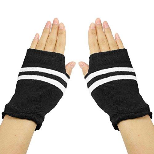 傾向がある悪性ネクタイuxcell 指なし 手袋 グローブ ニット 手首 ウォーマー フィンガーレスグローブ 指無し手袋 暖かい 防寒 ストライプス 柄 ニット 冬用 グローブ