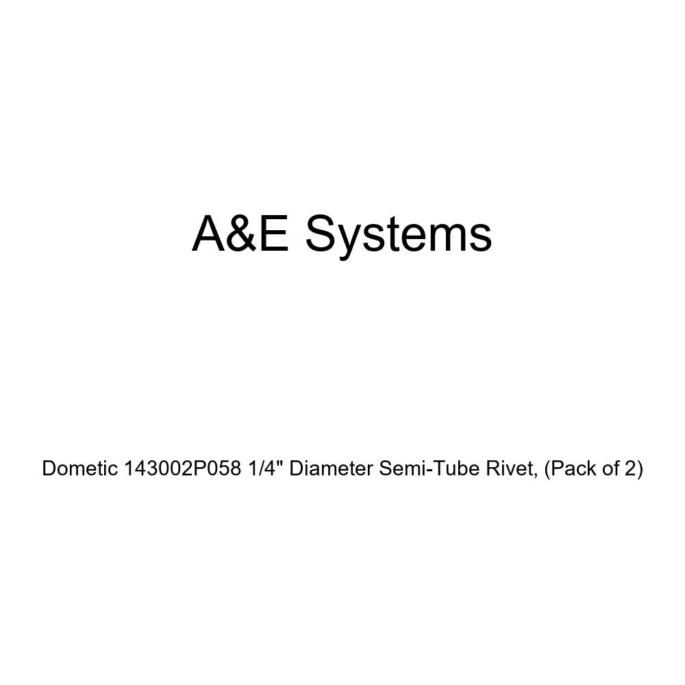 Pack of 2 Dometic 143002P058 Rivet Semi-Tube 1//4 x 2.56