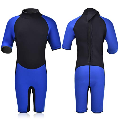 Realon Kids Wetsuit Shorty Full 3mm Premium Neoprene Lycra Swimsuit Toddler Baby Children and Girls Boys Youth Swim Surfing Snorkel Dive Snorkel XSPAN Back Zip Suit (Boy's Shorty Suit 3mm / Blue, XS) ()