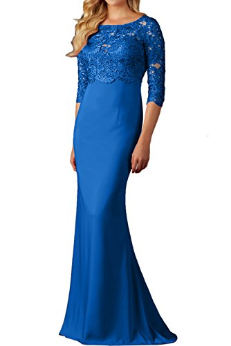 Ballkleid Abendkleider Ivydressing Spitzenkleider 4 3 Promkleid Festkleid Rundkragen Damen Royalblau Arm lang q6azqFw