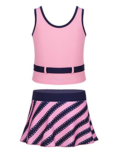 YiZYiF Big Girls 2-Piece Tankini Set Athletic Swimming Active Tank Tops with Ruffle Skort Bottoms Sets Swimsuit Pink 12