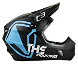THE Industries Youth T3 Shield BMX and Mountain Bike Helmet, 45-46cm/Small, Black/Blue