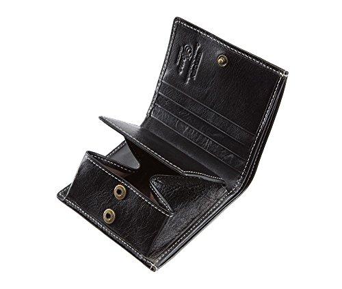 WITTCHEN Portafoglio, Dimensione: 9,5x10cm, Nero, Materiale: Pelle di grano, Orizzontale, Collezione: Roma - 22-1-065-1