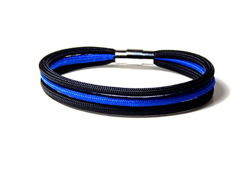 Thin Blue Line Bracelet Paracord Locking Stainless Steel Clasp 8 (Blue Clasp)