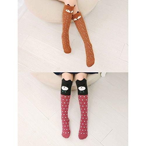 6 Pack Girls Socks, Cotton Over Calf Knee High Socks (Cartoon Animal Panda Cat Bear Fox) by Fansco (Image #5)
