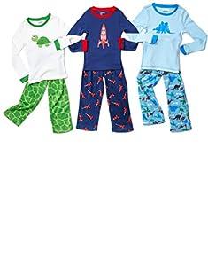 Leveret Boys 2 Piece Pajama Cotton Top & Fleece Pants (Size 2-14)